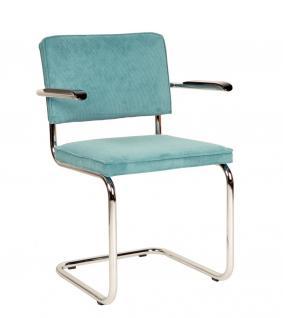 Designerstuhl aus Chrom/Kordgewebe in blau mit Armlehne