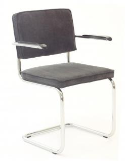 Designerstuhl aus Chrom/Kordgewebe in grau mit Armlehne