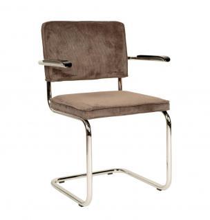 Designerstuhl aus Chrom/Kordgewebe in coffee mit Armlehne - Vorschau