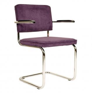 Designerstuhl aus Chrom/Kordgewebe in lila mit Armlehne