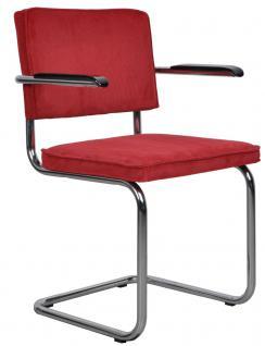 Designerstuhl aus Chrom/Kordgewebe in rot mit Armlehne - Vorschau