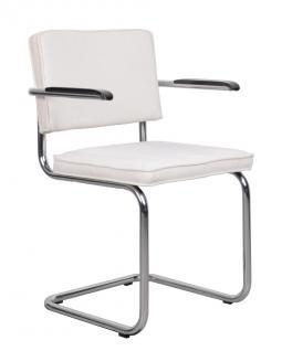 Designerstuhl aus Chrom/Kordgewebe in weiss mit Armlehne