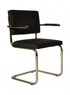 Designerstuhl aus Chrom/Kordgewebe in schwarz mit Armlehne