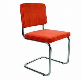 Designerstuhl aus Chrom/Kordgewebe in orange