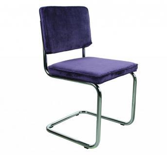 Designerstuhl aus Chrom/Kordgewebe in lila