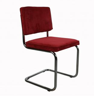 Designerstuhl aus Chrom/Kordgewebe in rot