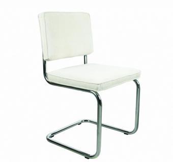 Designerstuhl aus Chrom/Kordgewebe in weiß