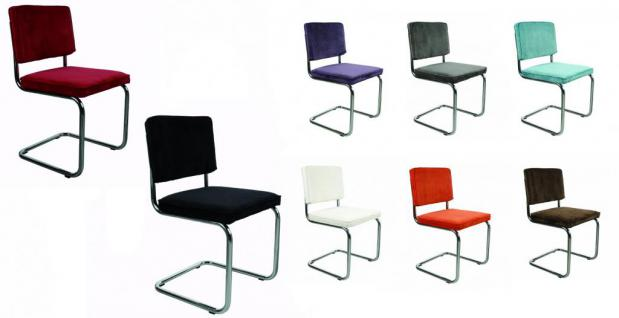 Designerstuhl aus Chrom/Kordgewebe in rot - Vorschau 2