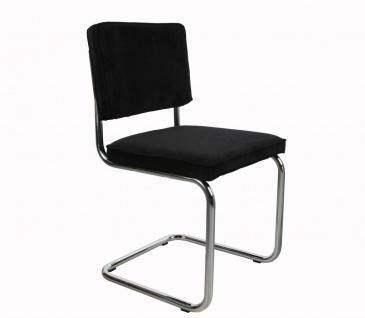 Designerstuhl aus Chrom/Kordgewebe in schwarz