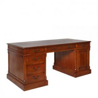 Schreibtisch aus Eichenholz massiv mit sieben Schubladen und einer Tür, 170 cm Länge