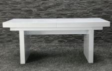 moderner Tisch, hochglanz lackiertes Holz, weiß
