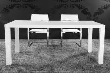 Moderner Tisch, Hochglanz lackiert, weiß, 160 cm