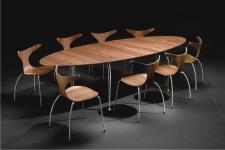 Moderner, ovaler Esstisch, Meetingtisch, Konferenztisch in zwei Farben weiß und walnuss
