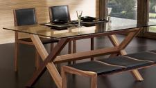 Design Esstisch aus Glas und Walnuss massiv