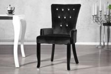 Stuhl gepolstert, Stuhl im Landhausstil, schwarzer Samtstoff mit Strasssteinen