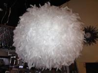 Hängeleuchte aus Naturfedern, Federleuchte, Farbe weiß 50 cm Durchmesser