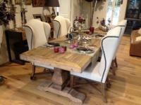 Esstisch im Landhausstil, Farbe: kombiniert braun und weiß