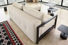 Design Klappsofa, Schlafsofa mit Textilstoff bezogen in Farbe sand