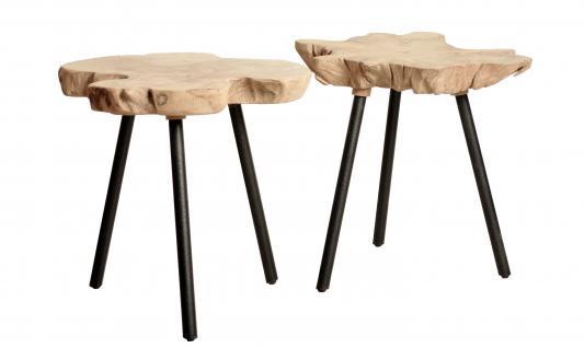 beistelltisch hocker aus teakholz metall kaufen bei. Black Bedroom Furniture Sets. Home Design Ideas