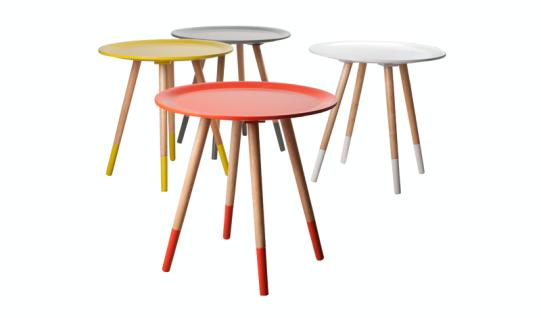 design beistelltisch dreifuß aus holz massiv, farbe gelb-naturholz,