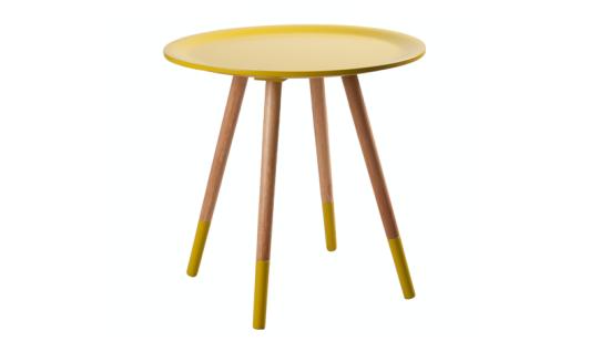 Design Beistelltisch Dreifuß aus Holz massiv, Farbe gelb-Naturholz - Vorschau 1