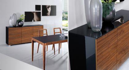 highboard walnuss schwarz schrank mit zwei t ren h he. Black Bedroom Furniture Sets. Home Design Ideas