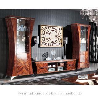 Extravagant Wohnwand Palisander Hochglanz Design Art Deco Stilmöbel