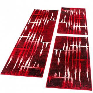 Bettumrandung Läufer Teppich brücken Meliert Design in Rot Läuferset 3 Tlg.