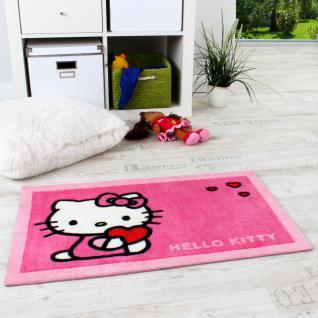 Kinder Teppiche Hello Kitty Kinderteppich mit Herzen in Pink Rosa Fuchsia