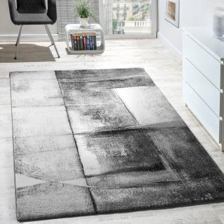 Designer Teppich Modern Kurzflor Wohnzimmer Trendig Meliert Grau Creme Silber