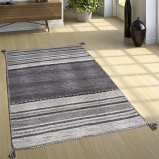 Designer Teppich Webteppich Kelim Handgewebt 100% Baumwolle Modern Gemustert Grau