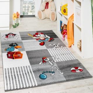 Kinder Teppich Pirat mit Papagei Schatzkiste Kinderzimmer Karo Grau Anthrazit