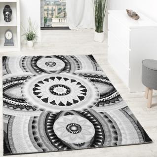 Designer Teppich Kurzflor Mit Glitzergarn Abstrakt Ornamente Grau Anthrazit Weiß