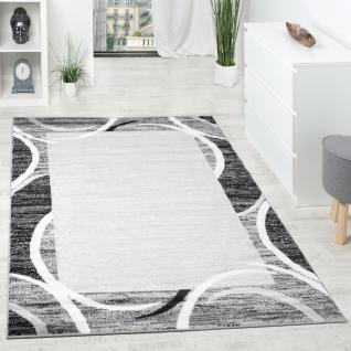 Wohnzimmer Teppich Designer Bordüre Meliert Grau Schwarz Creme Preishammer