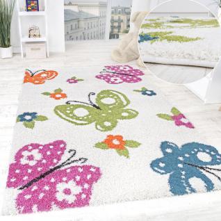 Kinderzimmer Shaggy Teppich Schmetterlinge Kinder Teppich Hochflor Creme Bunt