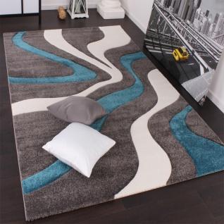 Wohnzimmer Modern Turkis designer teppich mit konturenschnitt modern grau trkis weiss wohn und schlafbereich designer teppiche Designer Teppich Mit Konturenschnitt Modern Grau Trkis Weiss