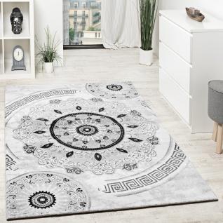 Designer Teppich Mit Glitzergarn Kurzflor Gemustert Grau Schwarz Anthrazit Weiß