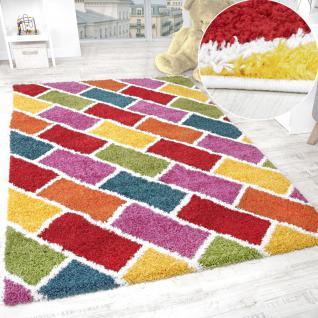 Kinder Teppich Hochflor Kinderzimmer Shaggy Teppich Kariert Mehrfarbig Bunt
