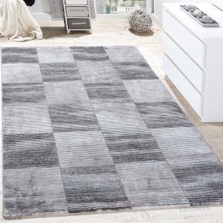 Teppich Wohnzimmer Konturenschnitt Kariert Gestreift Design Meliert Grau