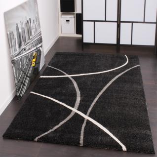 Moderner Designer Webteppich Velorus Teppich Gestreift in Schwarz Anthrazit AUSVERKAUF