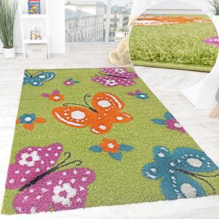 Kinderzimmer Shaggy Teppich Bunte Schmetterlinge Kinder Teppich Hochflor Grün