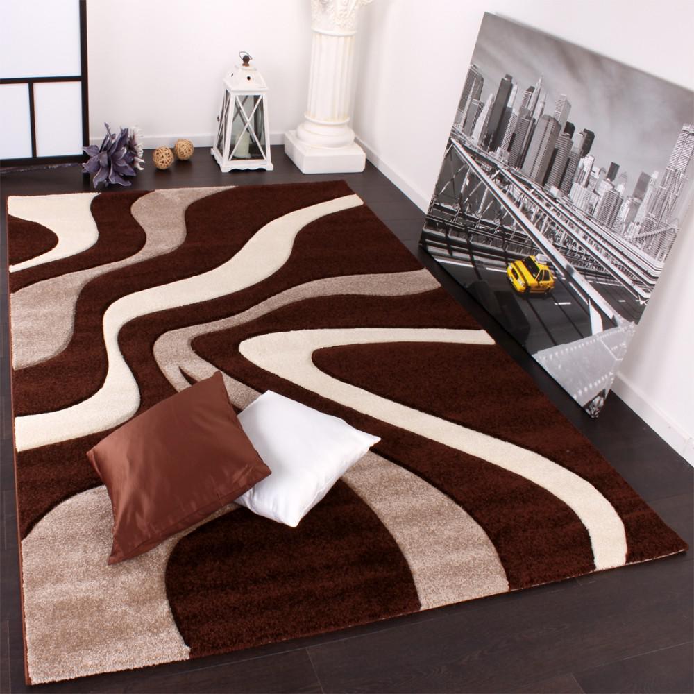 Designer Teppich mit Konturenschnitt Karo Muster Braun Beige ...