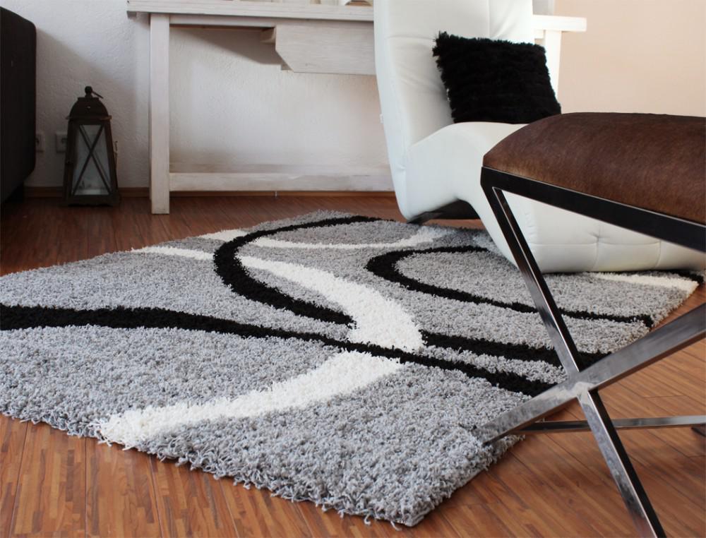 Teppich Hochflor Shaggy Linien Muster Grau Schwarz Weiss - Kaufen ... Wohnzimmer Teppich Schwarz Weis