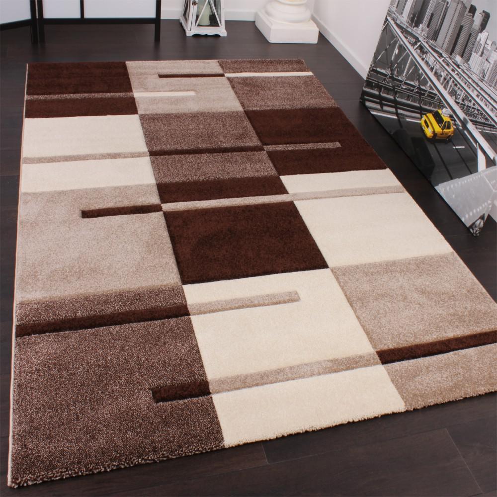 Designer teppich mit konturenschnitt wellen muster braun beige ...