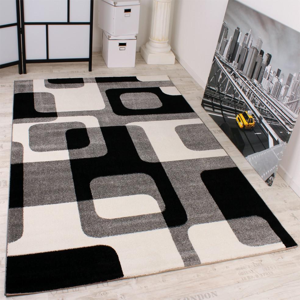 Designer teppich in grau schwarz weiss retro design   kaufen bei ...