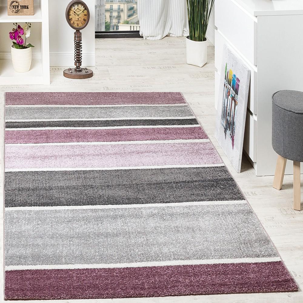 designer teppich hochwertig modern linien muster meliert zeitlos graustufen lila grau kaufen. Black Bedroom Furniture Sets. Home Design Ideas