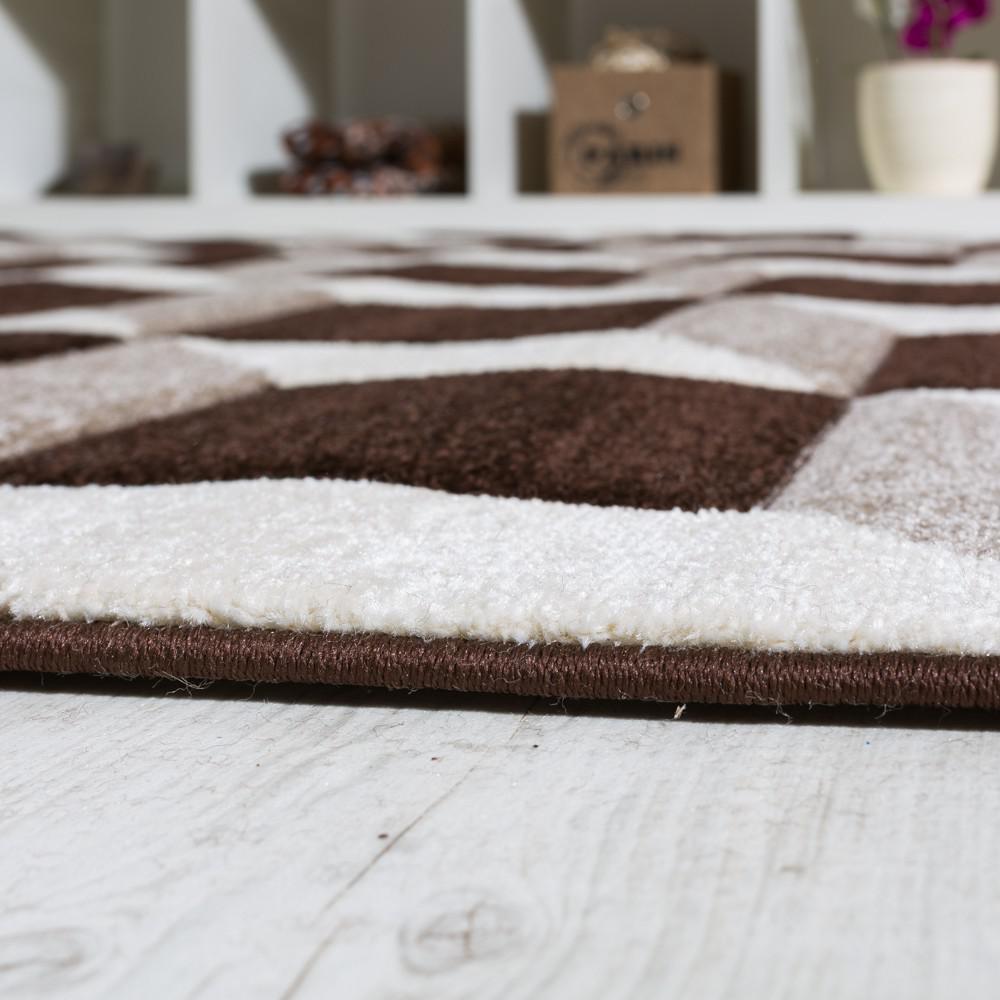 Wohnzimmer teppich geo design würfel muster braun creme ausverkauf ...