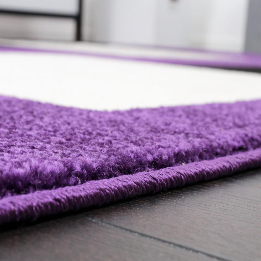 Designer teppich karo muster in schwarz lila weiss top qualität ...