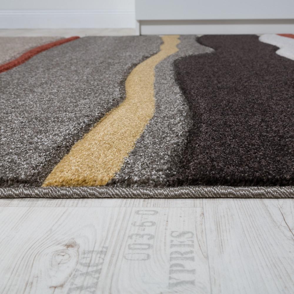 Designer teppich modern wohnzimmer konturenschnitt wellen optik ...