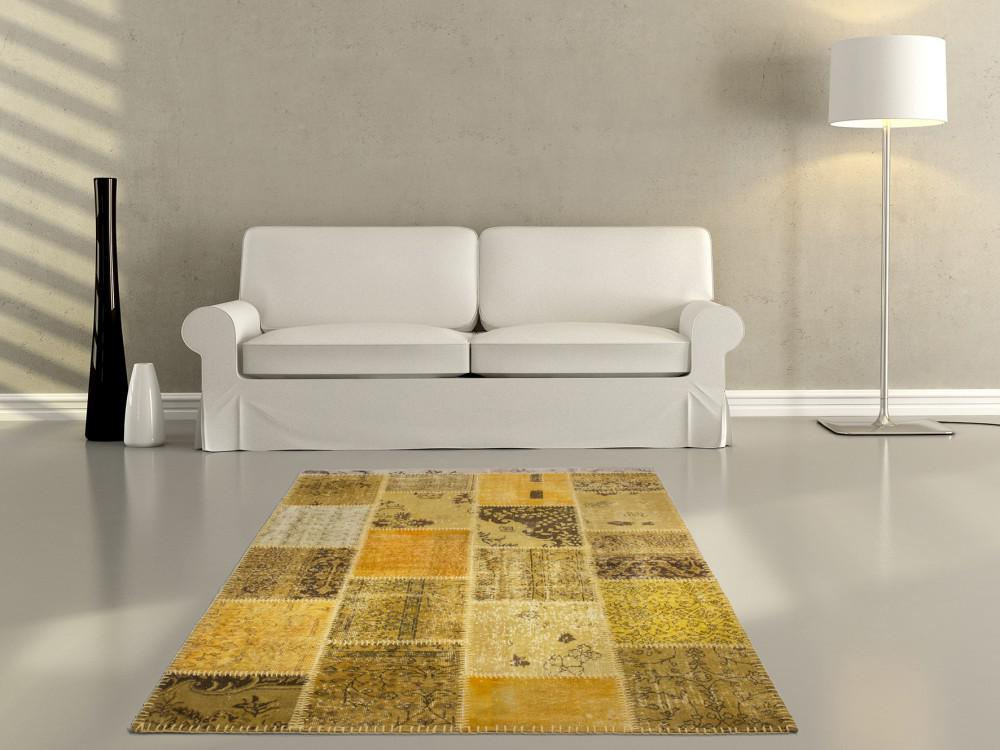 handgewebter patchwork teppich gelb kaufen bei diva teppich center. Black Bedroom Furniture Sets. Home Design Ideas